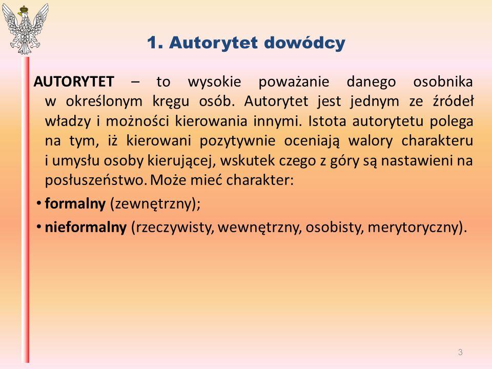 1. Autorytet dowódcy AUTORYTET – to wysokie poważanie danego osobnika w określonym kręgu osób.