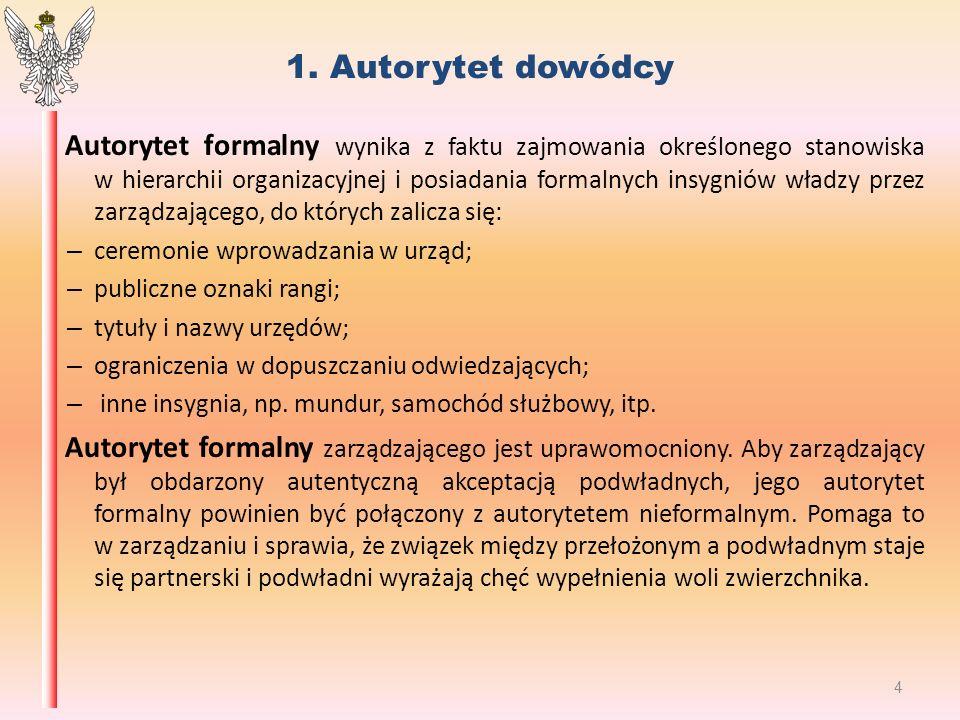 1. Autorytet dowódcy Autorytet formalny wynika z faktu zajmowania określonego stanowiska w hierarchii organizacyjnej i posiadania formalnych insygniów