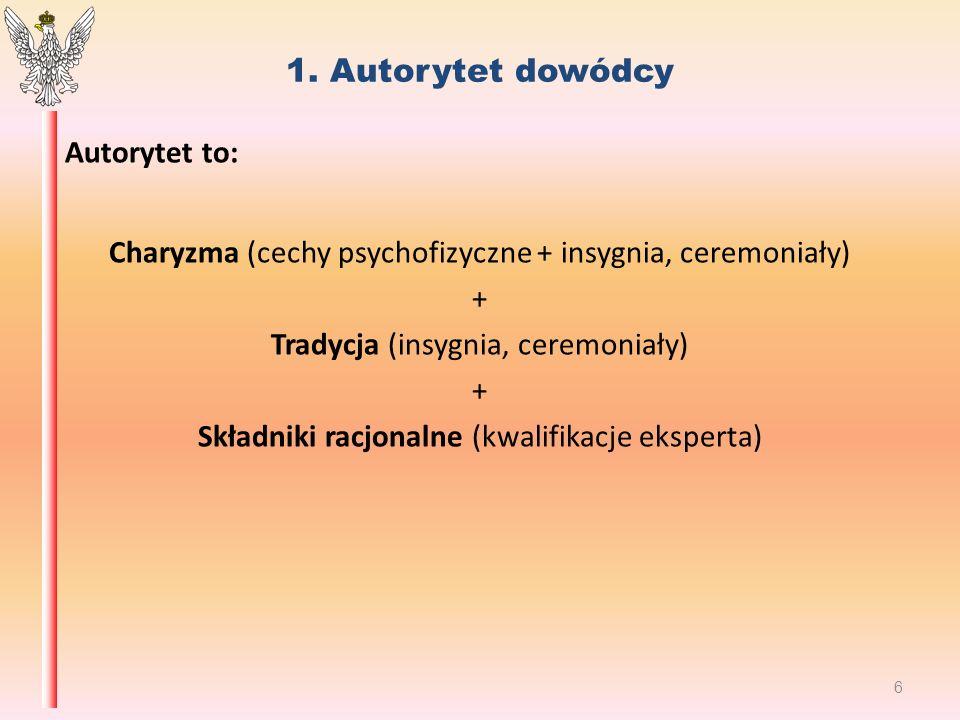 1. Autorytet dowódcy Autorytet to: Charyzma (cechy psychofizyczne + insygnia, ceremoniały) + Tradycja (insygnia, ceremoniały) + Składniki racjonalne (