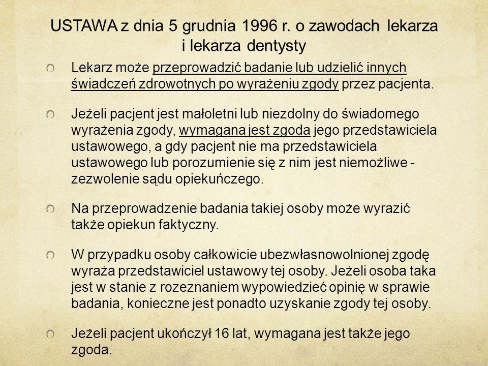 USTAWA z dnia 5 grudnia 1996 r.