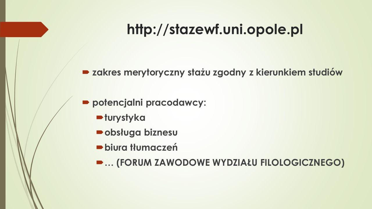 http://stazewf.uni.opole.pl  efekty kształcenia  wiedza  umiejętności  kompetencje społeczne  komunikacja w języku obcym  w mowie  w piśmie