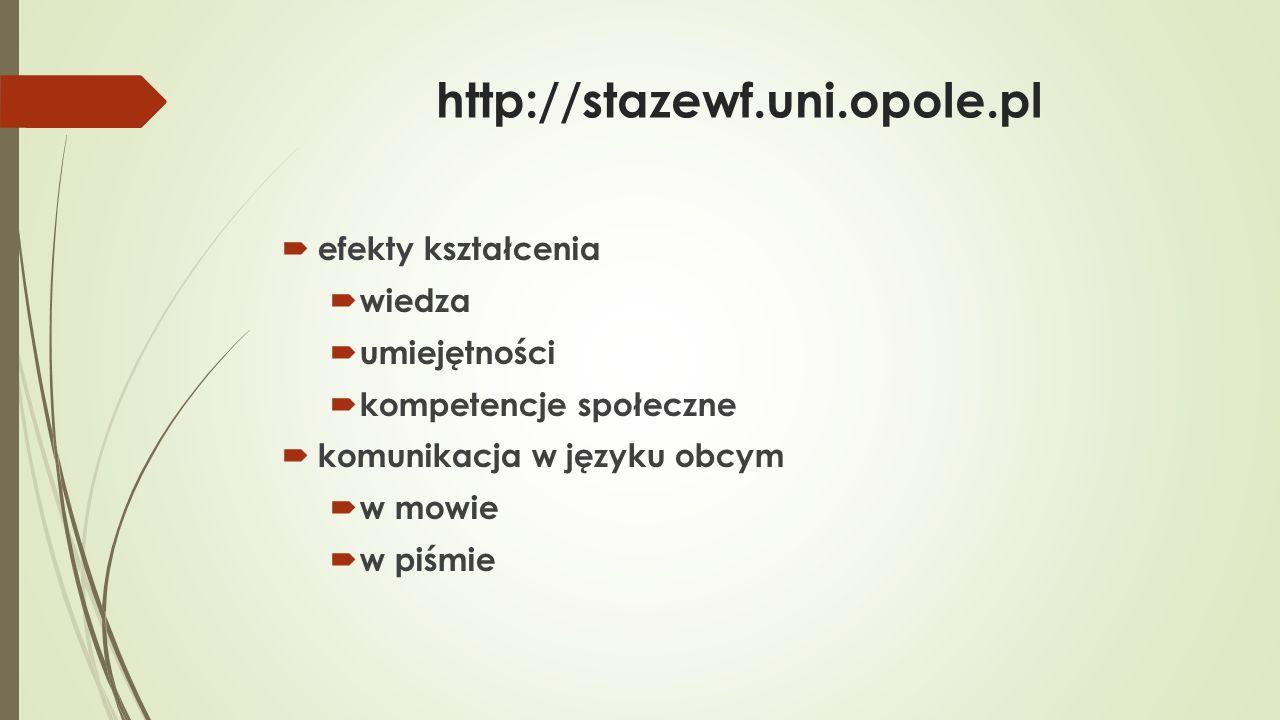 http://stazewf.uni.opole.pl  studenci ostatniego roku studiów I i II stopnia  absolwenci do 6 miesięcy po obronie  bierni zawodowo – priorytet w rekrutacji