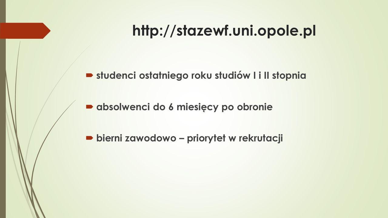 http://stazewf.uni.opole.pl  termin rekrutacji:  od środy 18 maja do wtorku 24 maja  biuro projektu:  dziekanat p.12 (codzienny dyżur wg.