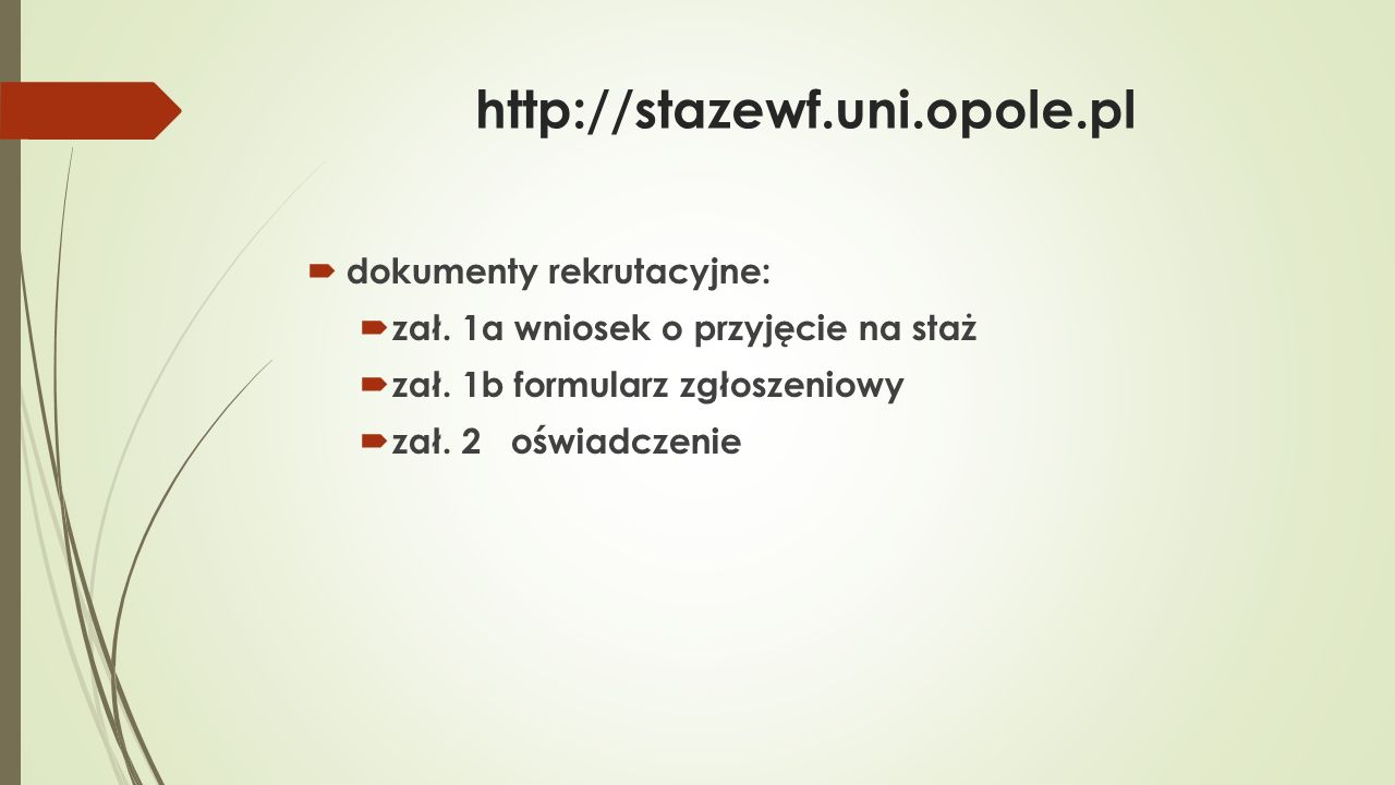 http://stazewf.uni.opole.pl  Kierownik Projektu  dr Elżbieta Szymańska-Czaplak  Koordynator staży krajowych  dr Magdalena Szyszka  Koordynator staży zagranicznych  prof.