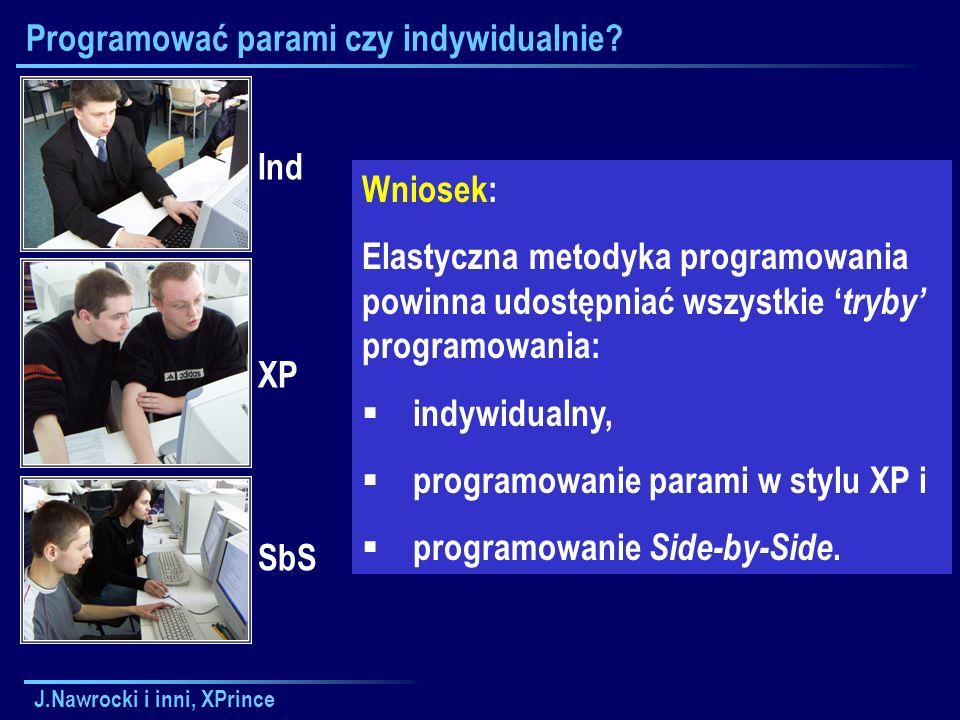 J.Nawrocki i inni, XPrince Programować parami czy indywidualnie.