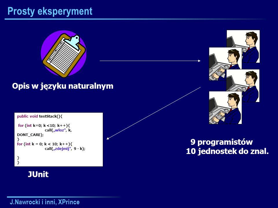 J.Nawrocki i inni, XPrince Prosty eksperyment 9 programistów 10 jednostek do znal.