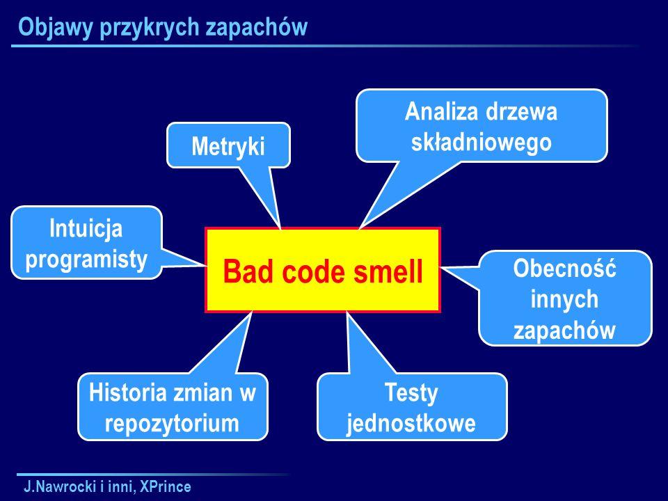 J.Nawrocki i inni, XPrince Objawy przykrych zapachów Bad code smell Metryki Analiza drzewa składniowego Intuicja programisty Historia zmian w repozytorium Testy jednostkowe Obecność innych zapachów
