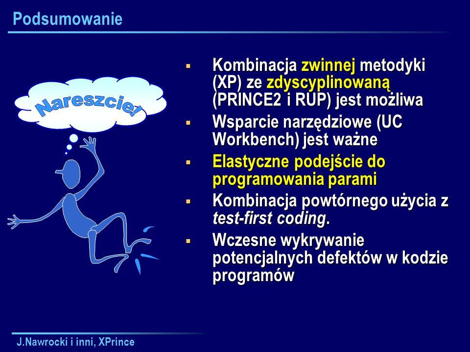 J.Nawrocki i inni, XPrince Podsumowanie  Kombinacja zwinnej metodyki (XP) ze zdyscyplinowaną (PRINCE2 i RUP) jest możliwa  Wsparcie narzędziowe (UC Workbench) jest ważne  Elastyczne podejście do programowania parami  Kombinacja powtórnego użycia z test-first coding.
