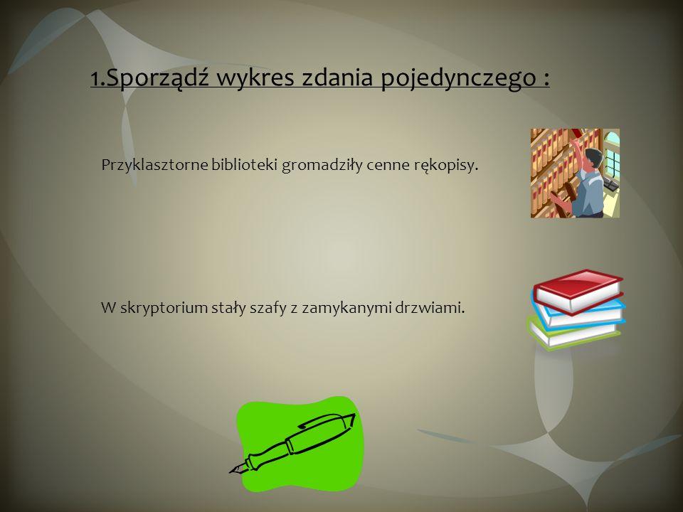 1.Sporządź wykres zdania pojedynczego : Przyklasztorne biblioteki gromadziły cenne rękopisy. W skryptorium stały szafy z zamykanymi drzwiami.