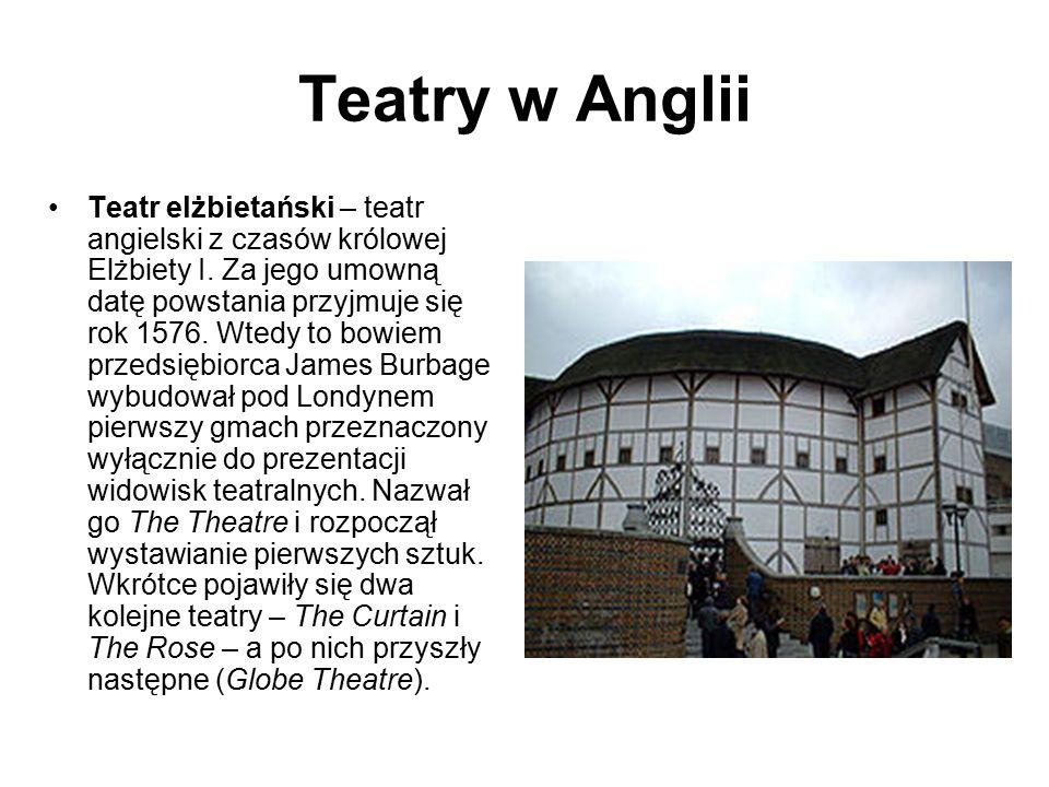 Teatry w Anglii Teatr elżbietański – teatr angielski z czasów królowej Elżbiety I.