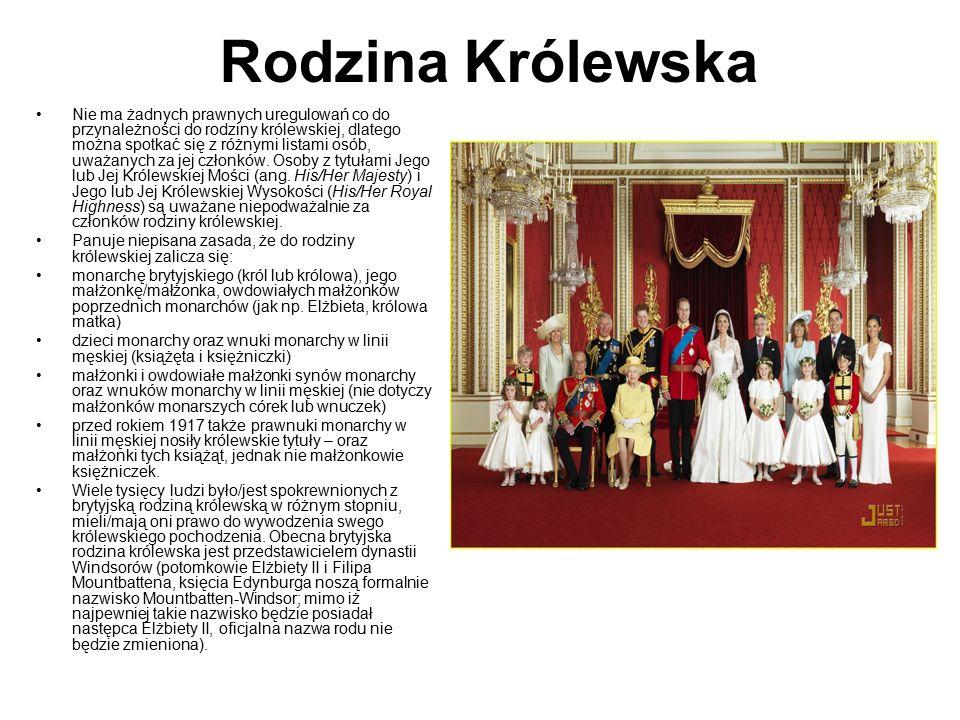 Rodzina Królewska Nie ma żadnych prawnych uregulowań co do przynależności do rodziny królewskiej, dlatego można spotkać się z różnymi listami osób, uw