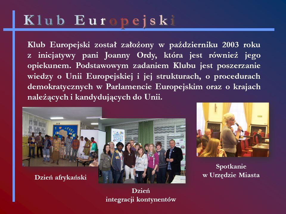 Klub Europejski został założony w październiku 2003 roku z inicjatywy pani Joanny Ordy, która jest również jego opiekunem.