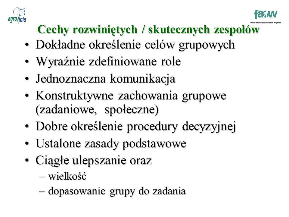 Cechy rozwiniętych / skutecznych zespołów Dokładne określenie celów grupowychDokładne określenie celów grupowych Wyraźnie zdefiniowane roleWyraźnie zdefiniowane role Jednoznaczna komunikacjaJednoznaczna komunikacja Konstruktywne zachowania grupowe (zadaniowe, społeczne)Konstruktywne zachowania grupowe (zadaniowe, społeczne) Dobre określenie procedury decyzyjnejDobre określenie procedury decyzyjnej Ustalone zasady podstawoweUstalone zasady podstawowe Ciągłe ulepszanie orazCiągłe ulepszanie oraz –wielkość –dopasowanie grupy do zadania