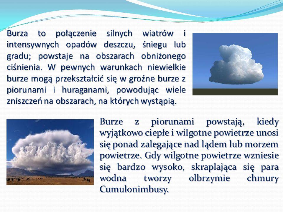 Burza to połączenie silnych wiatrów i intensywnych opadów deszczu, śniegu lub gradu; powstaje na obszarach obniżonego ciśnienia. W pewnych warunkach n