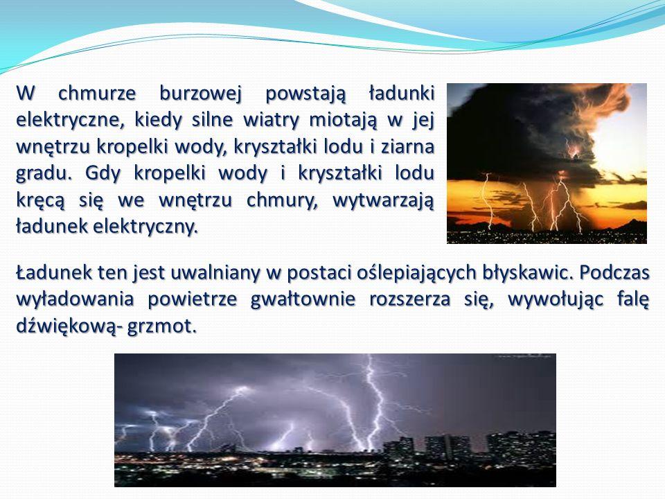 Gdy zjawiska burzowe przebiegają wprost nad tobą, w tym samym czasie słyszysz grzmot i błyskawicę.