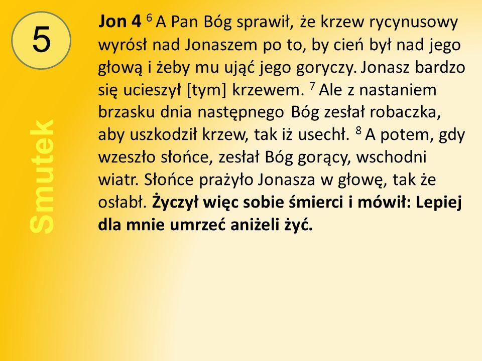 5 Smutek Jon 4 6 A Pan Bóg sprawił, że krzew rycynusowy wyrósł nad Jonaszem po to, by cień był nad jego głową i żeby mu ująć jego goryczy.
