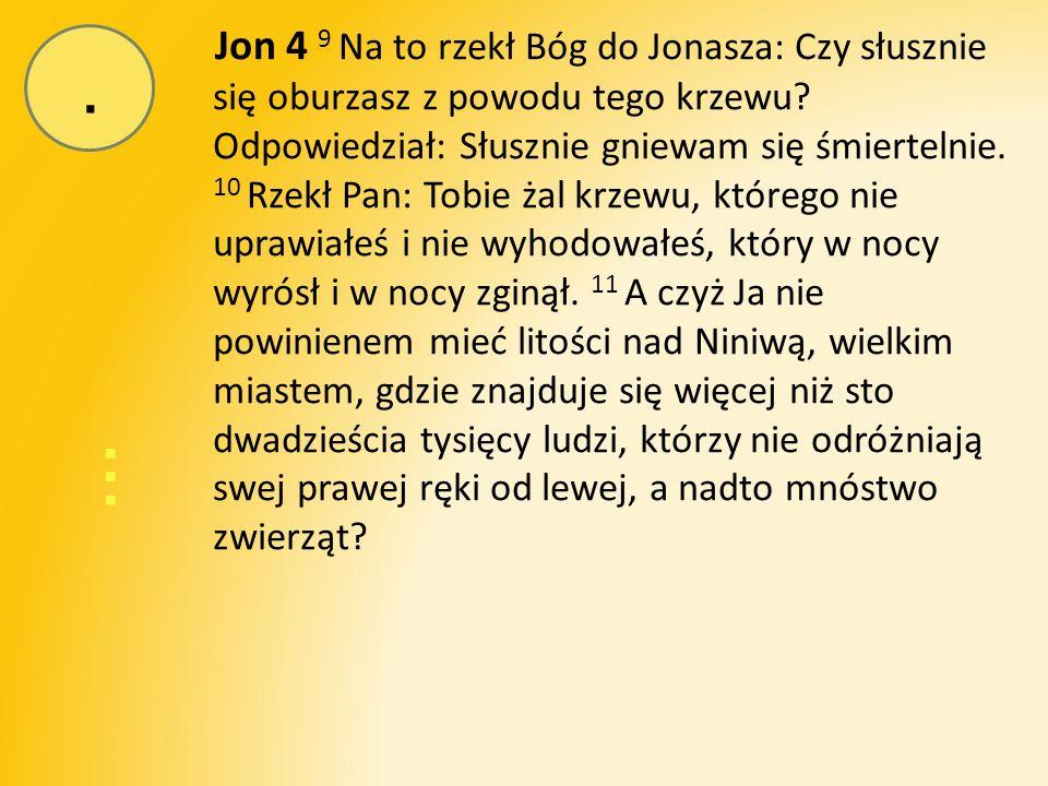 … Jon 4 9 Na to rzekł Bóg do Jonasza: Czy słusznie się oburzasz z powodu tego krzewu.