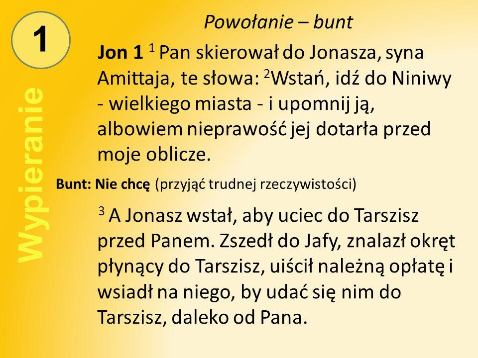 1 Powołanie – bunt Jon 1 1 Pan skierował do Jonasza, syna Amittaja, te słowa: 2 Wstań, idź do Niniwy - wielkiego miasta - i upomnij ją, albowiem nieprawość jej dotarła przed moje oblicze.