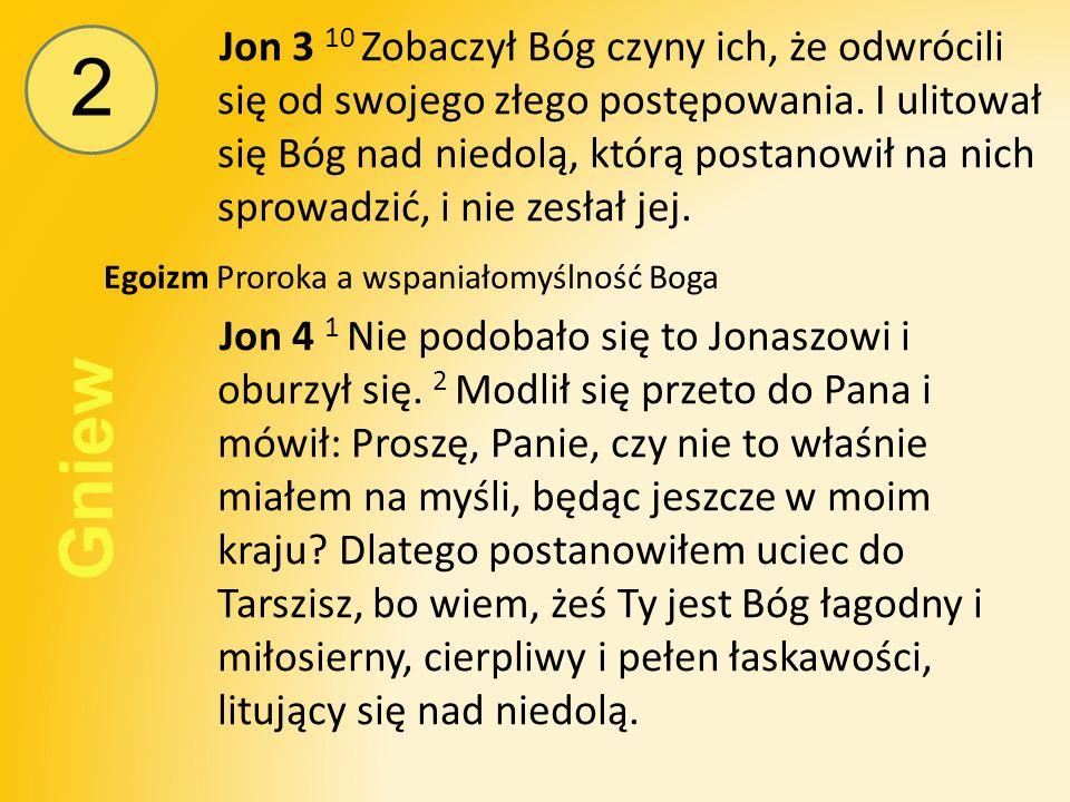 2 Gniew Jon 3 10 Zobaczył Bóg czyny ich, że odwrócili się od swojego złego postępowania.