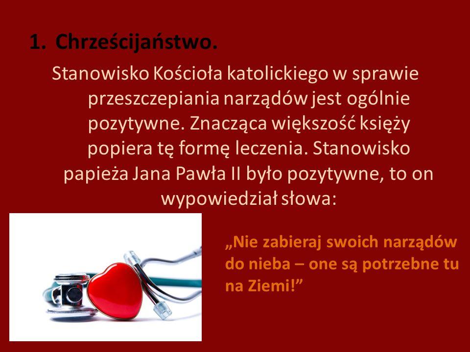 1.Chrześcijaństwo. Stanowisko Kościoła katolickiego w sprawie przeszczepiania narządów jest ogólnie pozytywne. Znacząca większość księży popiera tę fo