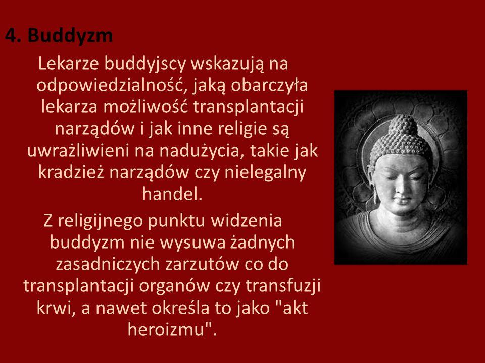 4. Buddyzm Lekarze buddyjscy wskazują na odpowiedzialność, jaką obarczyła lekarza możliwość transplantacji narządów i jak inne religie są uwrażliwieni