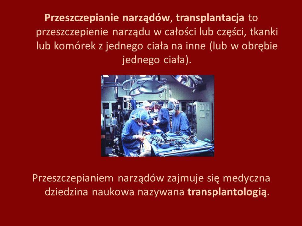 Podział przeszczepów Autogeniczny – polega na przeniesieniu własnej tkanki lub narządu z jednego miejsca na drugie, np.