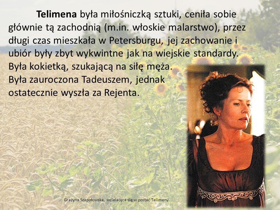 Zosia wywodziła się z rodu Horeszków, jej opiekunem był Jacek Soplica, ale pod jego nieobecność opiekowała się nią Telimena.