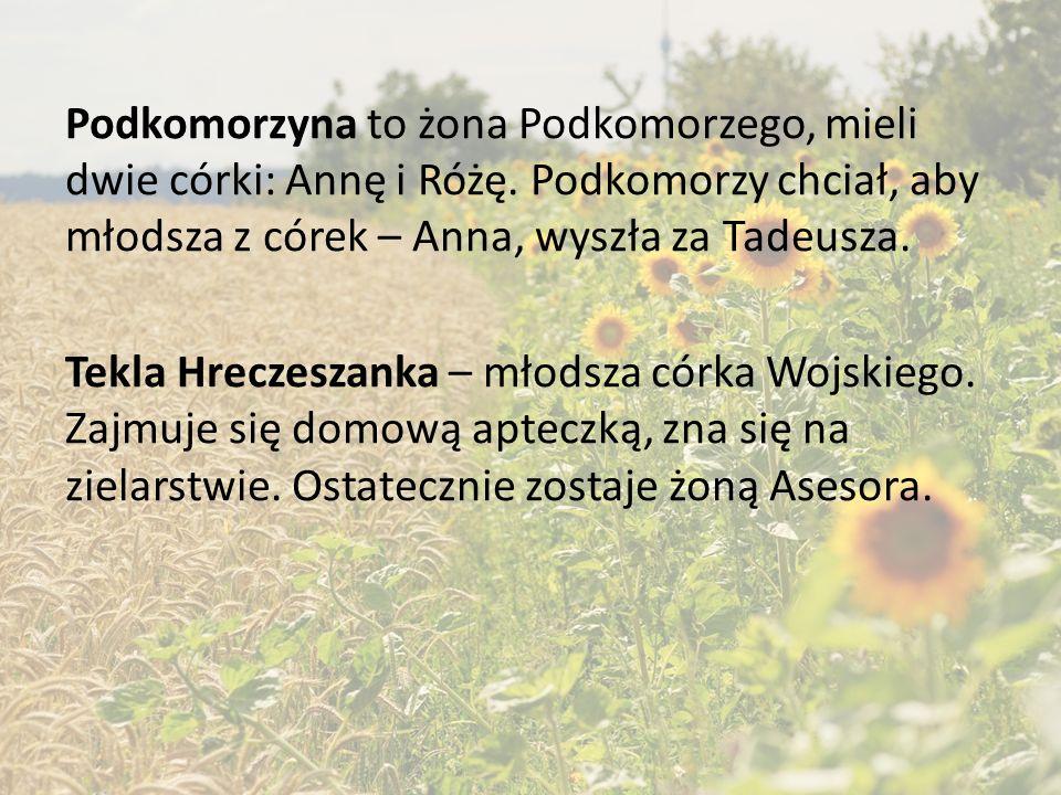 Ewa Horeszkówna była jedyną córką Stolnika Horeszki. Darzyła uczuciem Jacka Soplicę, on również ją kochał, jednak jej rodzice nie akceptowali Jacka i