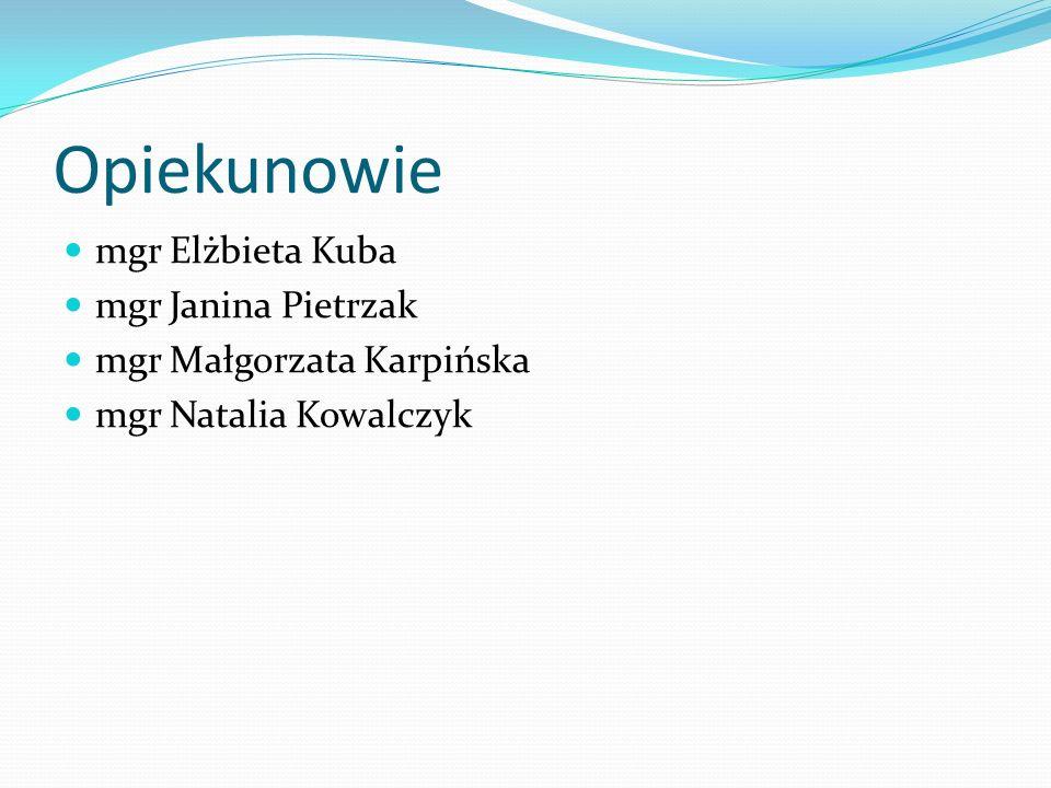 Opiekunowie mgr Elżbieta Kuba mgr Janina Pietrzak mgr Małgorzata Karpińska mgr Natalia Kowalczyk