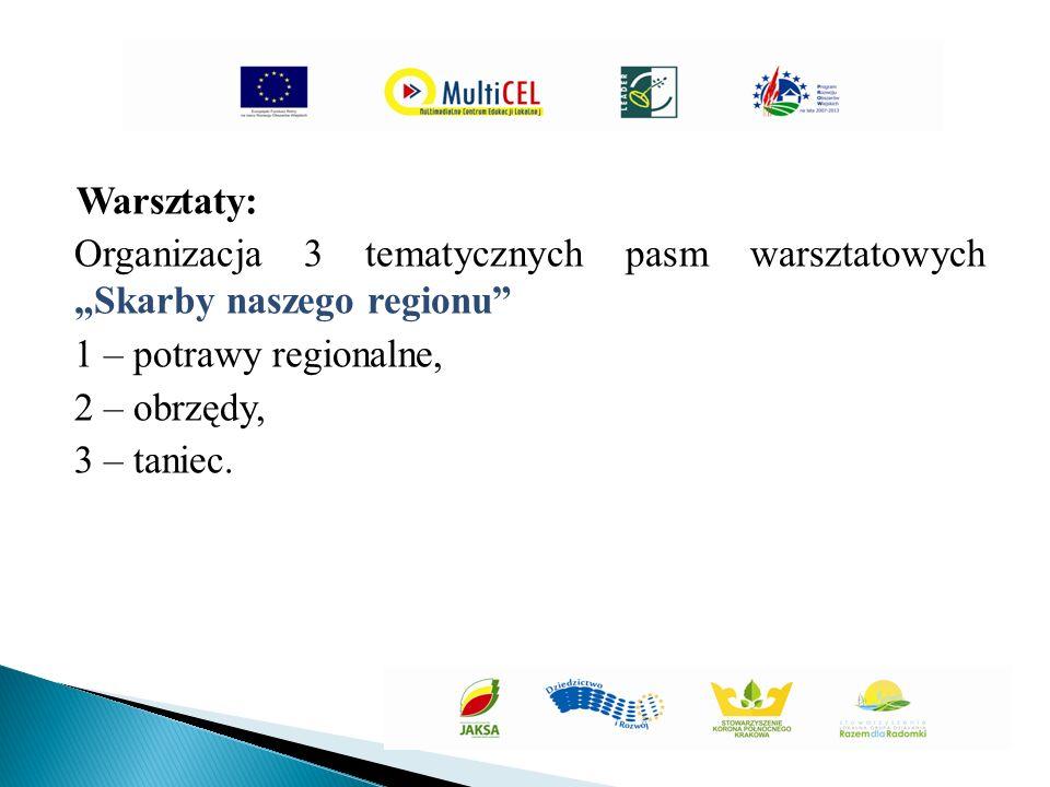 """Warsztaty: Organizacja 3 tematycznych pasm warsztatowych """"Skarby naszego regionu 1 – potrawy regionalne, 2 – obrzędy, 3 – taniec."""