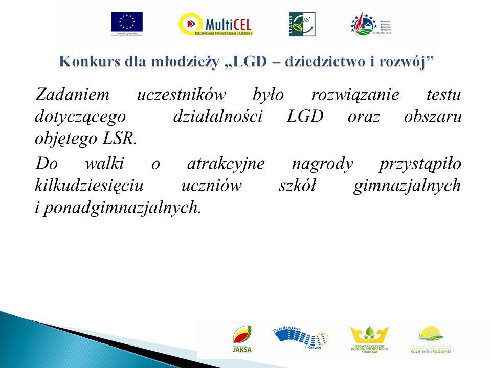 Zadaniem uczestników było rozwiązanie testu dotyczącego działalności LGD oraz obszaru objętego LSR.