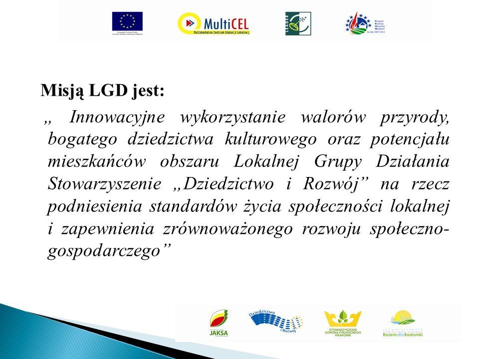 """Misją LGD jest: """" Innowacyjne wykorzystanie walorów przyrody, bogatego dziedzictwa kulturowego oraz potencjału mieszkańców obszaru Lokalnej Grupy Działania Stowarzyszenie """"Dziedzictwo i Rozwój na rzecz podniesienia standardów życia społeczności lokalnej i zapewnienia zrównoważonego rozwoju społeczno- gospodarczego"""