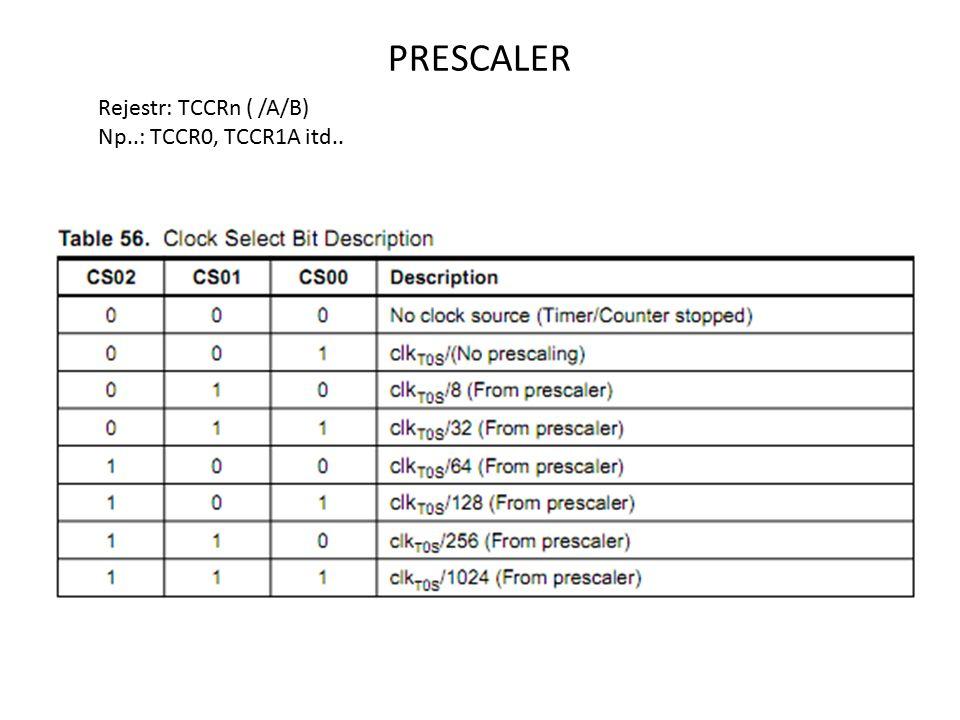 PRESCALER Rejestr: TCCRn ( /A/B) Np..: TCCR0, TCCR1A itd..