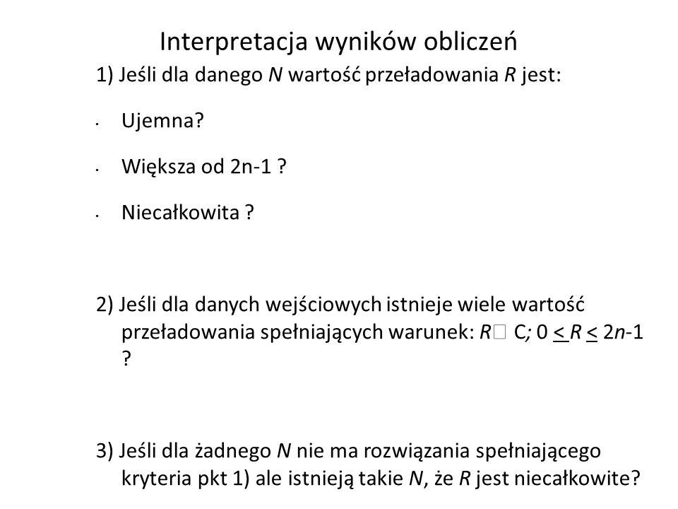 Interpretacja wyników obliczeń 1) Jeśli dla danego N wartość przeładowania R jest: Ujemna? Większa od 2n-1 ? Niecałkowita ? 2) Jeśli dla danych wejści