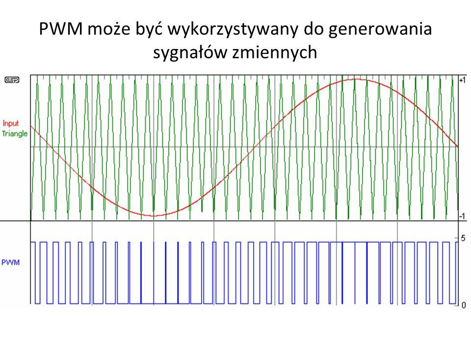 PWM może być wykorzystywany do generowania sygnałów zmiennych