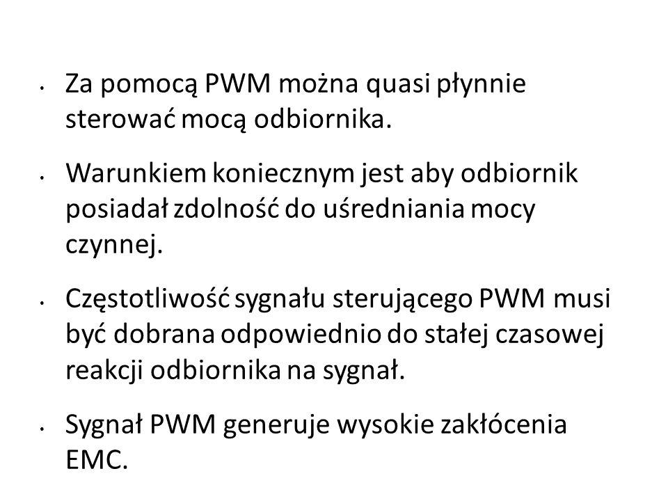 Za pomocą PWM można quasi płynnie sterować mocą odbiornika. Warunkiem koniecznym jest aby odbiornik posiadał zdolność do uśredniania mocy czynnej. Czę