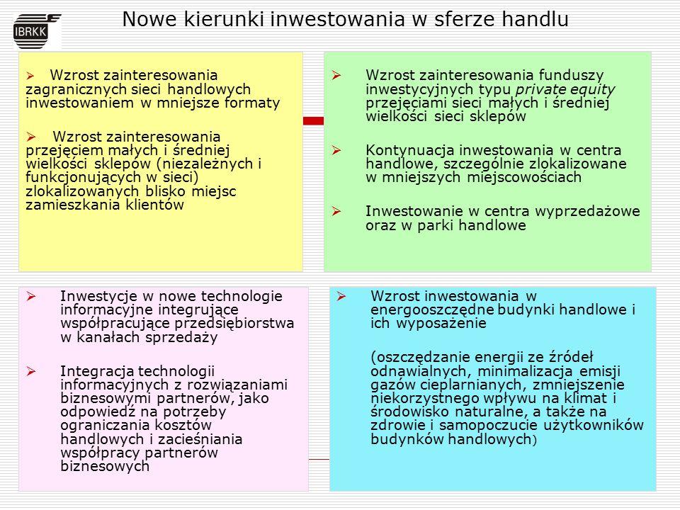 Nowe kierunki inwestowania w sferze handlu  Wzrost zainteresowania zagranicznych sieci handlowych inwestowaniem w mniejsze formaty  Wzrost zainteres