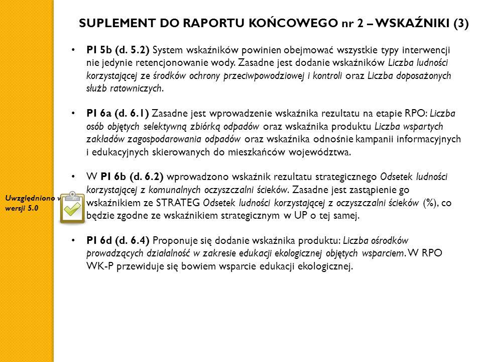 SUPLEMENT DO RAPORTU KOŃCOWEGO nr 2 – WSKAŹNIKI (3) PI 5b (d. 5.2) System wskaźników powinien obejmować wszystkie typy interwencji nie jedynie retencj