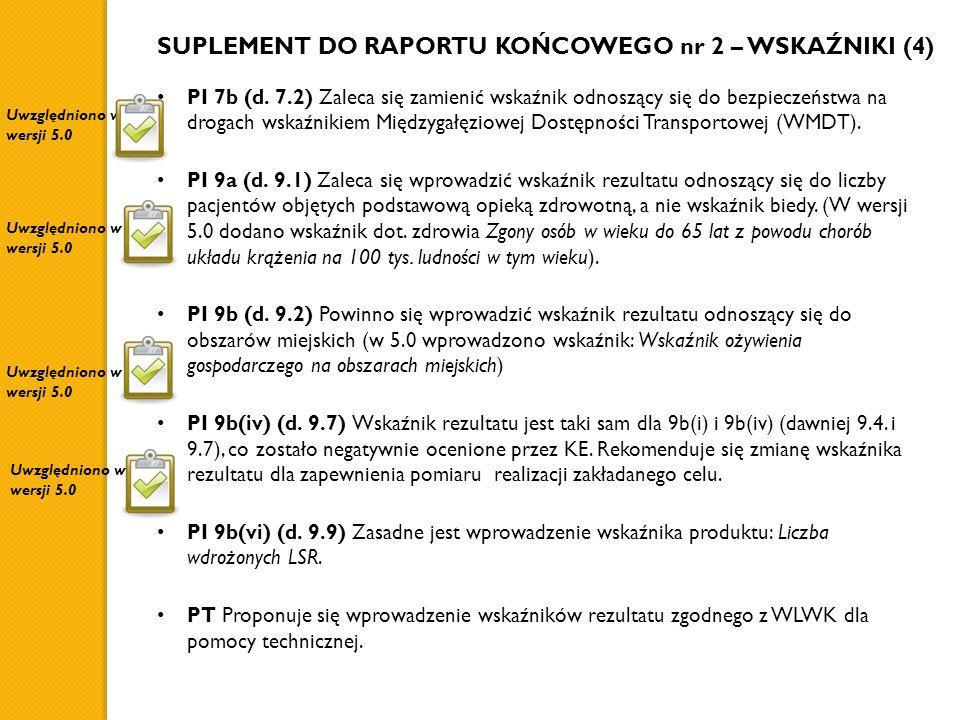 SUPLEMENT DO RAPORTU KOŃCOWEGO nr 2 – WSKAŹNIKI (4) PI 7b (d. 7.2) Zaleca się zamienić wskaźnik odnoszący się do bezpieczeństwa na drogach wskaźnikiem
