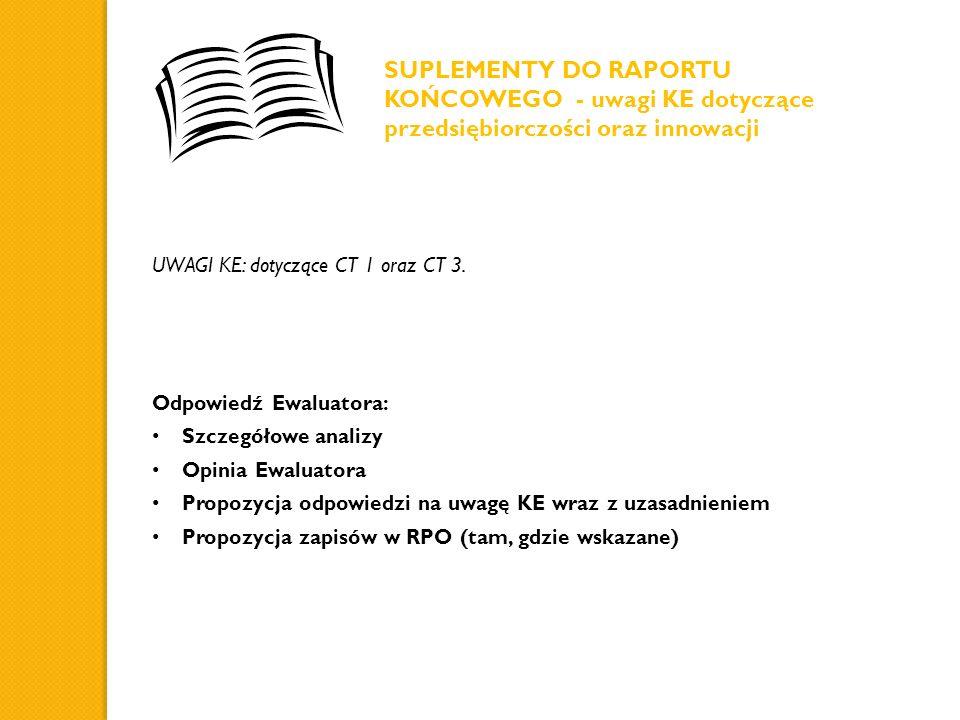 SUPLEMENTY DO RAPORTU KOŃCOWEGO - uwagi KE dotyczące przedsiębiorczości oraz innowacji UWAGI KE: dotyczące CT 1 oraz CT 3. Odpowiedź Ewaluatora: Szcze