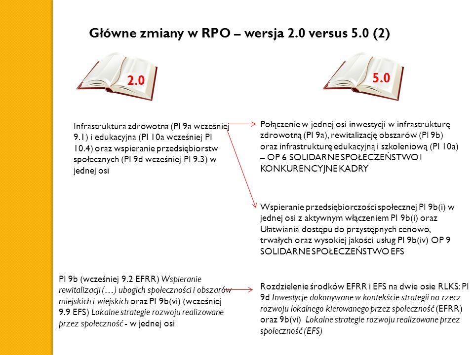 Główne zmiany w RPO – wersja 2.0 versus 5.0 (2) Infrastruktura zdrowotna (PI 9a wcześniej 9.1) i edukacyjna (PI 10a wcześniej PI 10.4) oraz wspieranie przedsiębiorstw społecznych (PI 9d wcześniej PI 9.3) w jednej osi Połączenie w jednej osi inwestycji w infrastrukturę zdrowotną (PI 9a), rewitalizację obszarów (PI 9b) oraz infrastrukturę edukacyjną i szkoleniową (PI 10a) – OP 6 SOLIDARNE SPOŁECZEŃSTWO I KONKURENCYJNE KADRY Wspieranie przedsiębiorczości społecznej PI 9b(i) w jednej osi z aktywnym włączeniem PI 9b(i) oraz Ułatwiania dostępu do przystępnych cenowo, trwałych oraz wysokiej jakości usług PI 9b(iv) OP 9 SOLIDARNE SPOŁECZEŃSTWO EFS PI 9b (wcześniej 9.2 EFRR) Wspieranie rewitalizacji (…) ubogich społeczności i obszarów miejskich i wiejskich oraz PI 9b(vi) (wcześniej 9.9 EFS) Lokalne strategie rozwoju realizowane przez społeczność - w jednej osi Rozdzielenie środków EFRR i EFS na dwie osie RLKS: PI 9d Inwestycje dokonywane w kontekście strategii na rzecz rozwoju lokalnego kierowanego przez społeczność (EFRR) oraz 9b(vi) Lokalne strategie rozwoju realizowane przez społeczność (EFS) 2.0 5.0