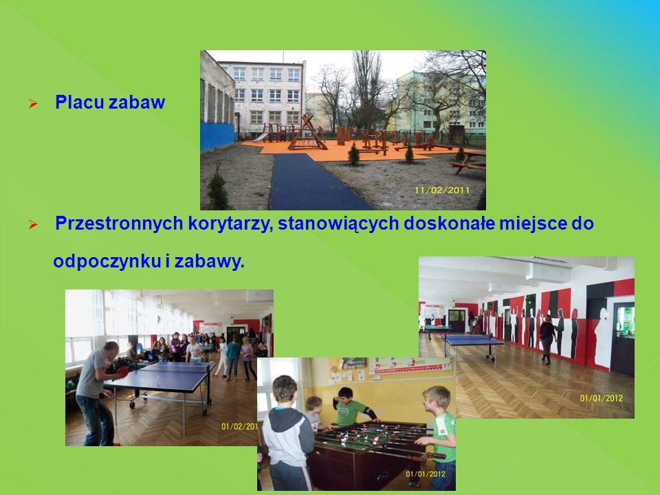  Biblioteki szkolnej  Sali rekreacyjnej - stanowiącej doskonałe miejsce do odpoczynku i zabawy, szczególnie dla uczniów klas młodszych, wyposażonej w gry i zabawki.