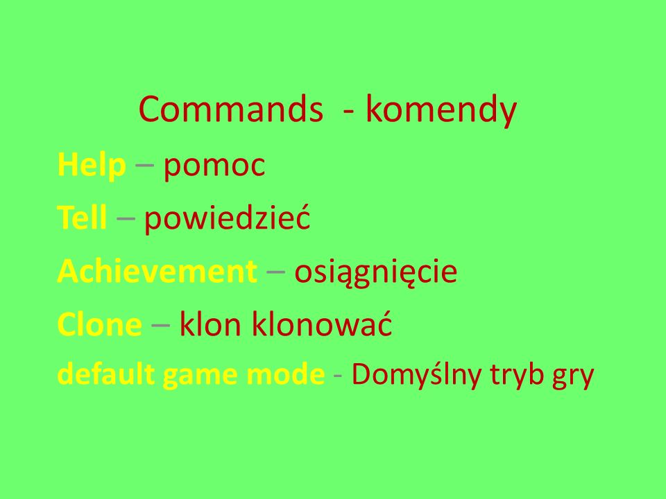 Commands - komendy Help – pomoc Tell – powiedzieć Achievement – osiągnięcie Clone – klon klonować default game mode - Domyślny tryb gry