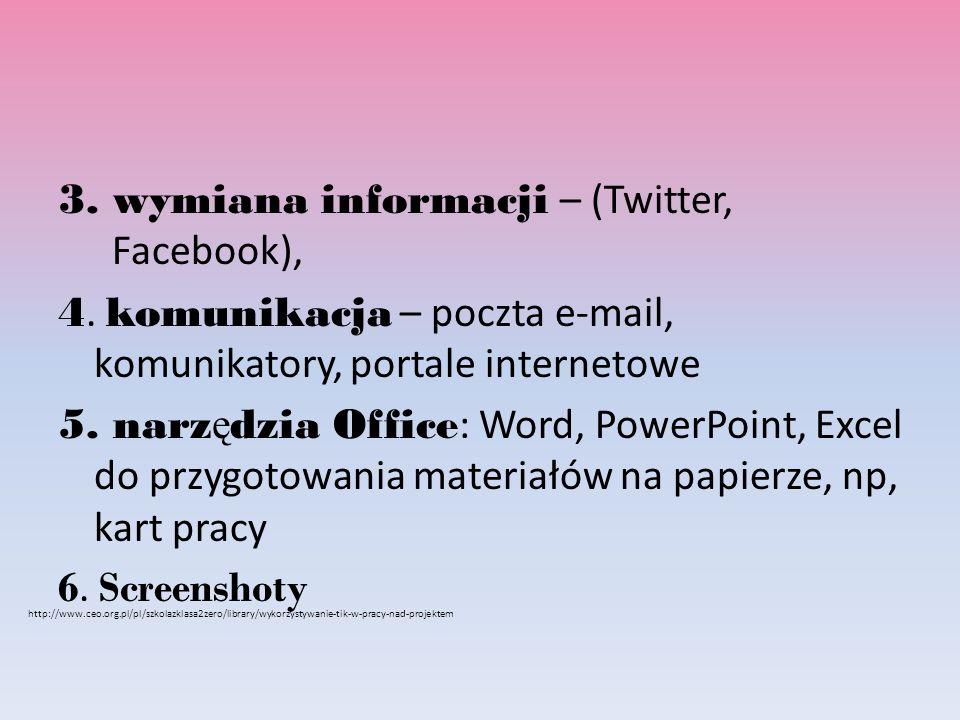 3. wymiana informacji – (Twitter, Facebook), 4.