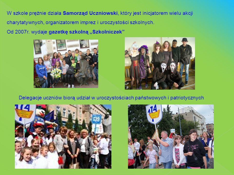 Delegacje uczniów biorą udział w uroczystościach państwowych i patriotycznych W szkole prężnie działa Samorząd Uczniowski, który jest inicjatorem wiel