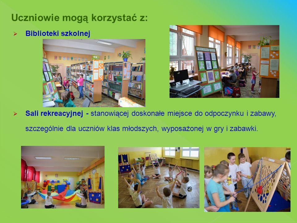  Biblioteki szkolnej  Sali rekreacyjnej - stanowiącej doskonałe miejsce do odpoczynku i zabawy, szczególnie dla uczniów klas młodszych, wyposażonej