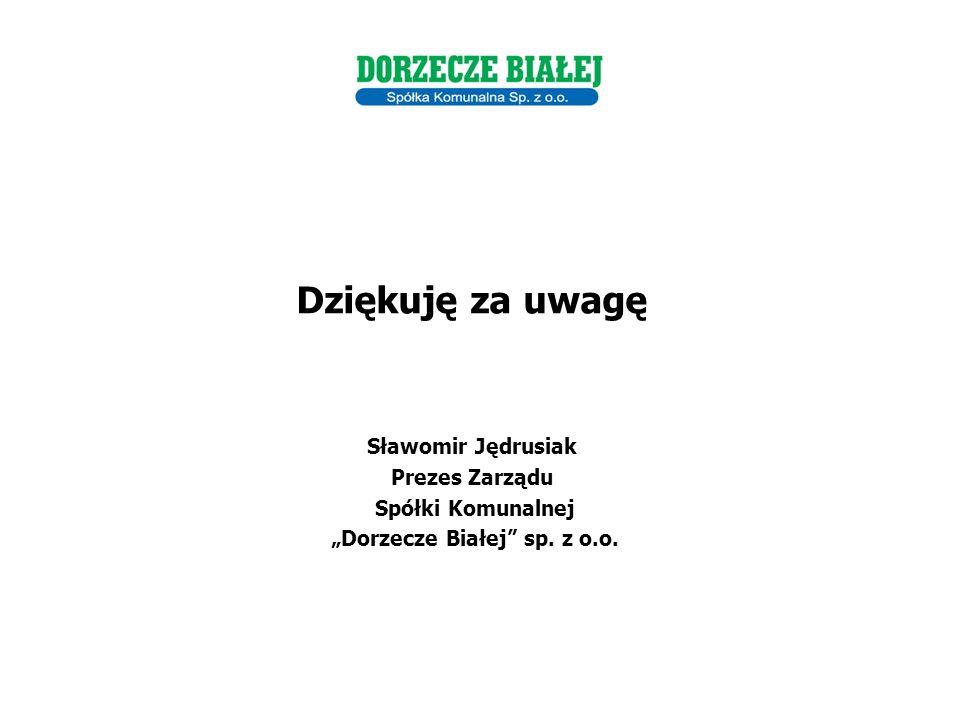 """Dziękuję za uwagę Sławomir Jędrusiak Prezes Zarządu Spółki Komunalnej """"Dorzecze Białej sp."""