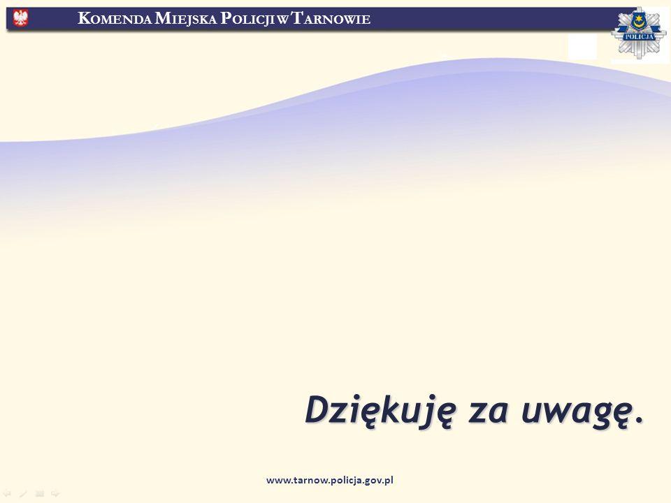 K OMENDA M IEJSKA P OLICJI W T ARNOWIE www.tarnow.policja.gov.pl Dziękuję za uwagę.