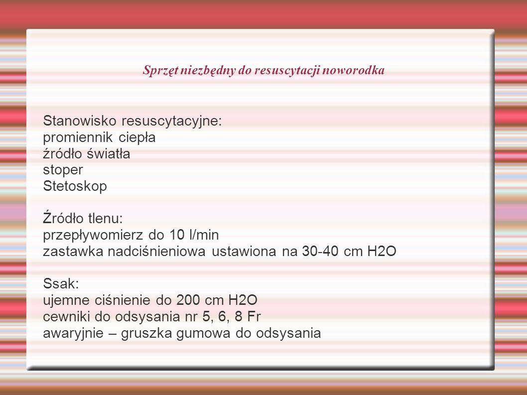 Sprzęt niezbędny do resuscytacji noworodka Stanowisko resuscytacyjne: promiennik ciepła źródło światła stoper Stetoskop Źródło tlenu: przepływomierz do 10 l/min zastawka nadciśnieniowa ustawiona na 30-40 cm H2O Ssak: ujemne ciśnienie do 200 cm H2O cewniki do odsysania nr 5, 6, 8 Fr awaryjnie – gruszka gumowa do odsysania