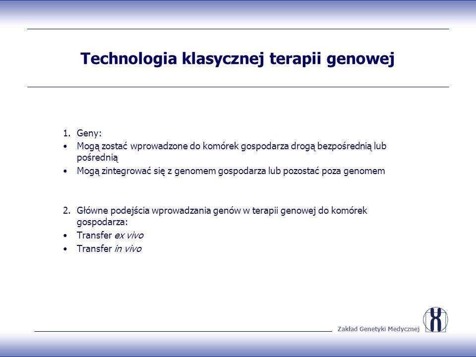 Zakład Genetyki Medycznej Transfer ex vivo 1.Celem uniknięcia reakcji autoimmunologicznej komórki pobiera się od gospodarza 2.Transfer sklonowanych genów do komórek hodowlanych 3.Selekcja zrekombinowanych komórek na podłożu wzrostowym in vitro 4.Wprowadzanie zrekombinowanych komórek z powrotem do organizmu gospodarza 5.Przykłady: komórki skóry; podobieństwo do transplantacji komórek np.